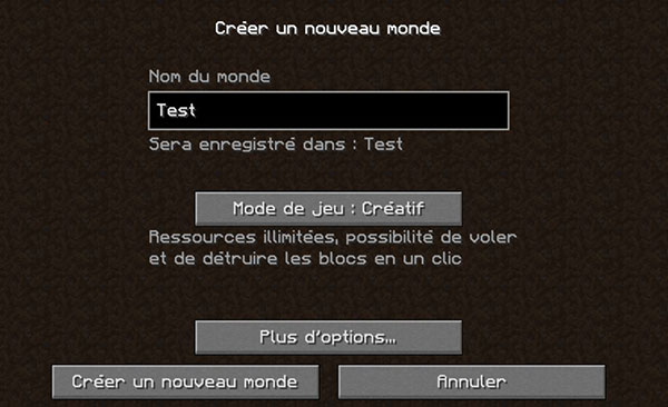 creation monde minecraft